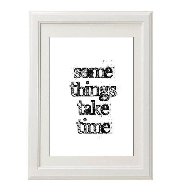 Patience print, black typography print, 8''x10'', free shipping, everyday wisdom, grunge. $18.00, via Etsy.