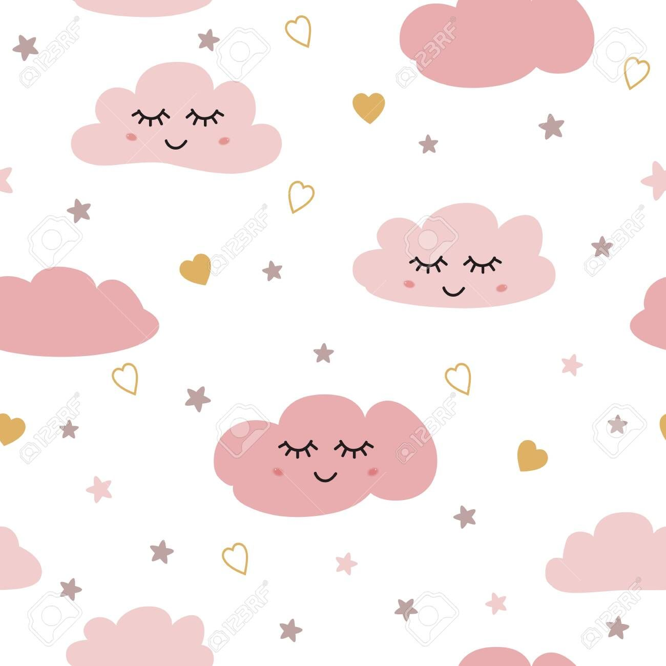 Clouds Pattern Seamless Pattern With Smiling Sleeping Clouds Stars Hearts For Baby Girl Design Cute Baby Shower Pink Background Ilustracoes Vetores Estampas