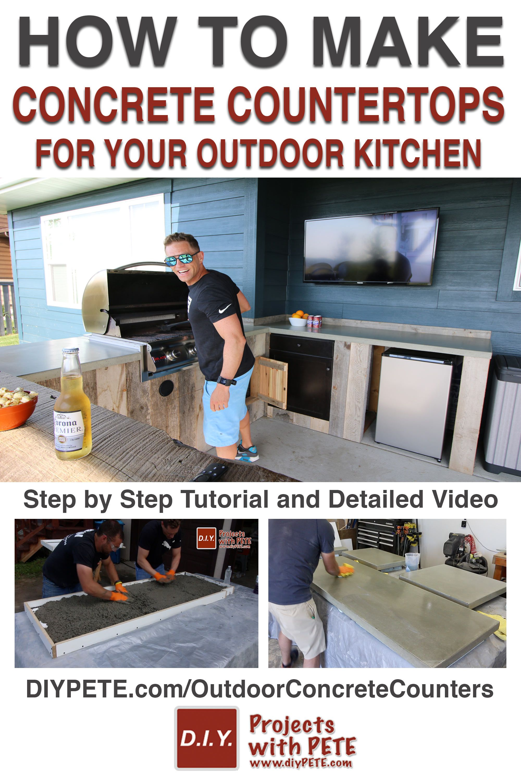 How To Make Concrete Counters For An Outdoor Kitchen Diy Pete Countertops