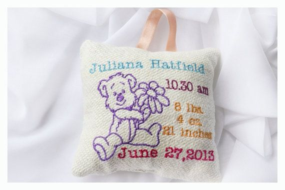 Personalised birth Announcement Pillow New Baby Pillow  by KoTshop, $20.00