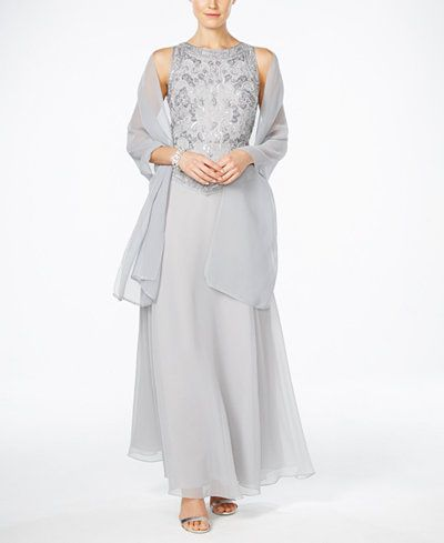 1949e7930cd3 J Kara Hand-Beaded Chiffon Gown and Scarf | My Style | Beaded ...