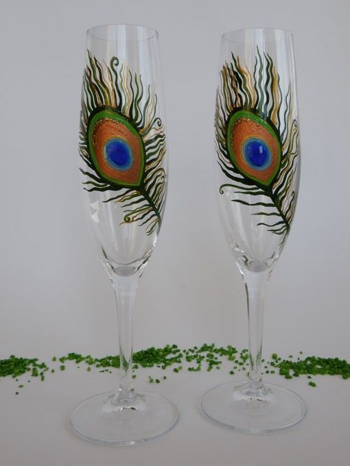 Hand Painted Wedding Toasting Flutes Set Of 2 Personalized Champagne Glasses Peacock Feather