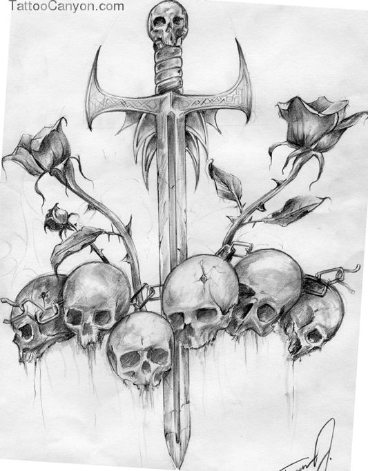 Sword And Skulls Skull Free Tattoo Designs Gallery Ideas Picture 13291 Skulls Drawing Skull Art Skull Tattoo Design