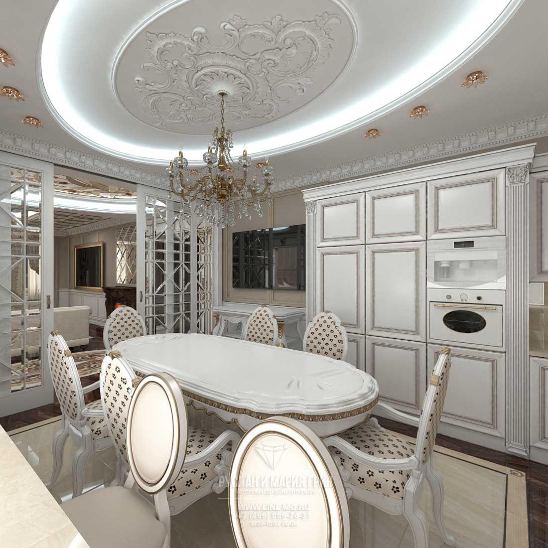 Дизайн в столовой в загородном доме