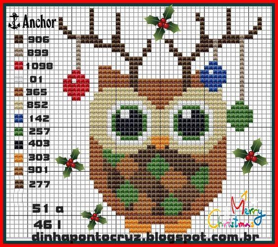Christmas owl pattern by Dinha Ponto Cruz: