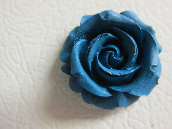 Dark Blue Rose Magnet by OhYarnKnit on Etsy