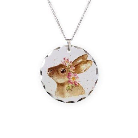 EASTER BUNNY WITH FLORAL HAT Necklace on CafePress.com
