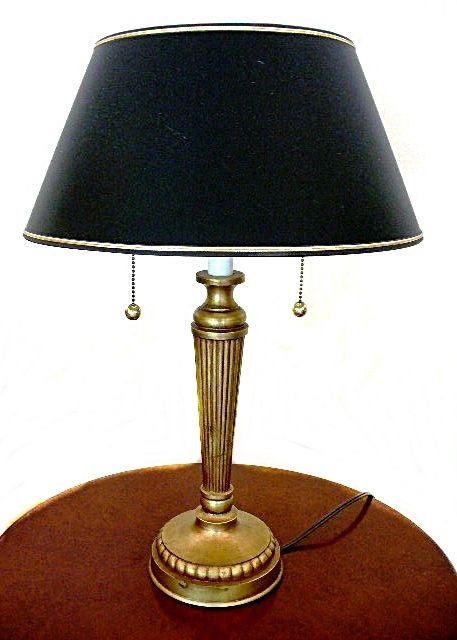 Stiffel Brass Table Lamp With Navy Blue Shade And Double Bulbs
