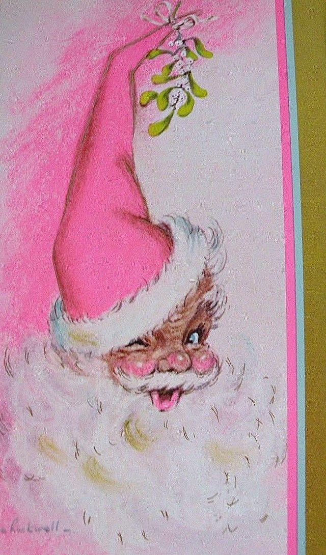 vintage santa christmas card pink santa vintage pink. Black Bedroom Furniture Sets. Home Design Ideas