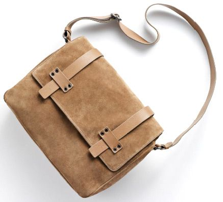 Mauro Governa Leather Messenger Bag.    This very modern looking bag with it's simple lines and great materials looks absolutely great.