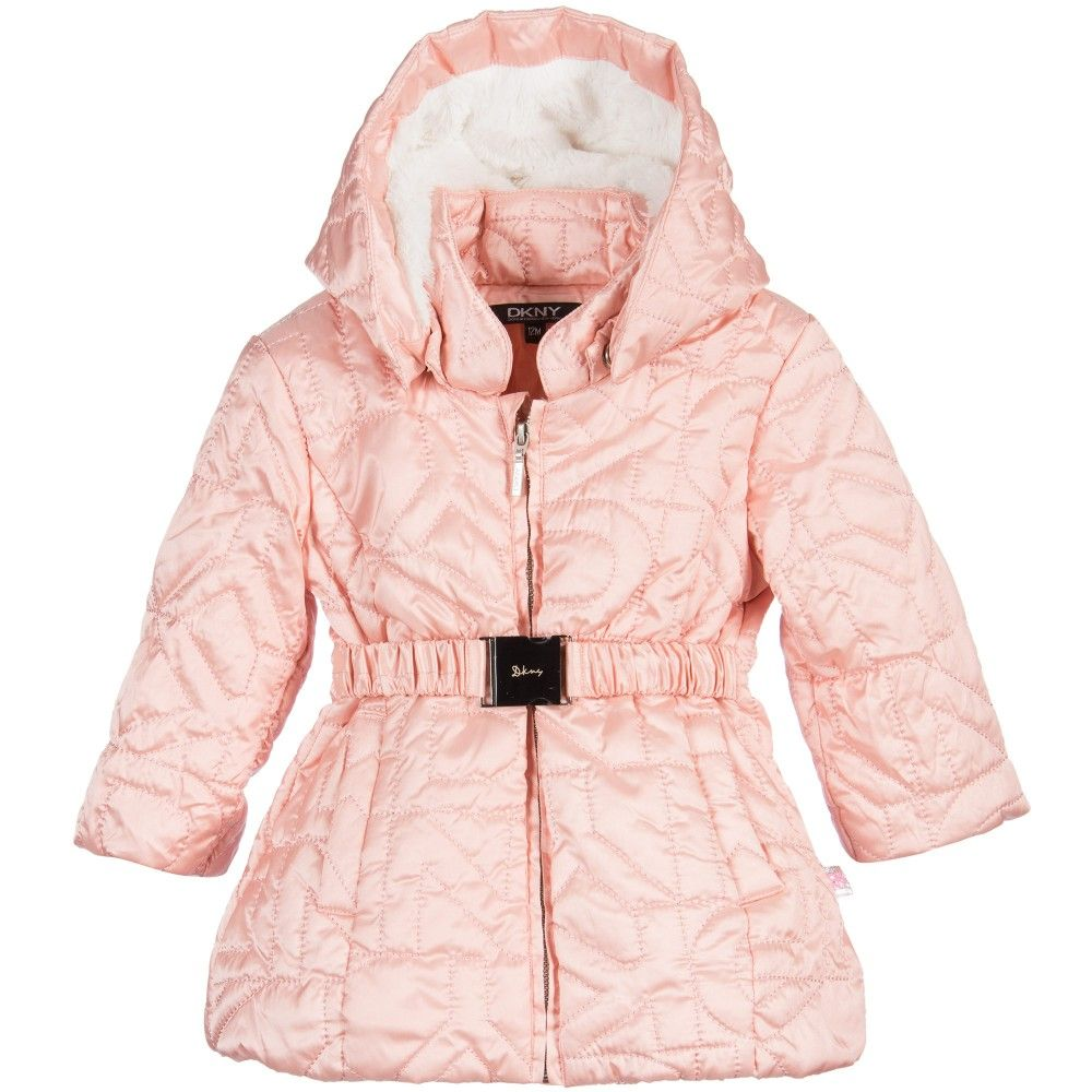 Baby Girls Pale Pink Quilted Logo Puffer Coat, DKNY, Girl ...