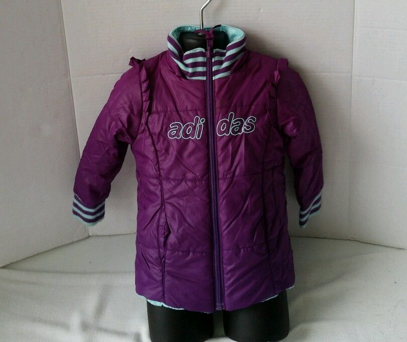 Adidas Reversible Winter Coat Toddler Infant Girls Purple Size 18-24 Months  M #adidas
