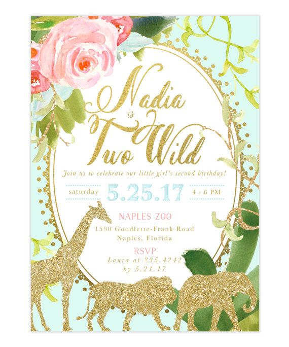 Glam Safari Jungle Girl Second 2nd Birthday By SeaPaperDesigns