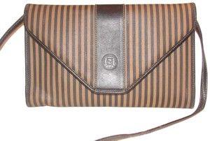 500f85acdcc9 Fendi Two Way Style Bag Clutch  regimental  Line Excellent Vintage Early  Style Shoulder
