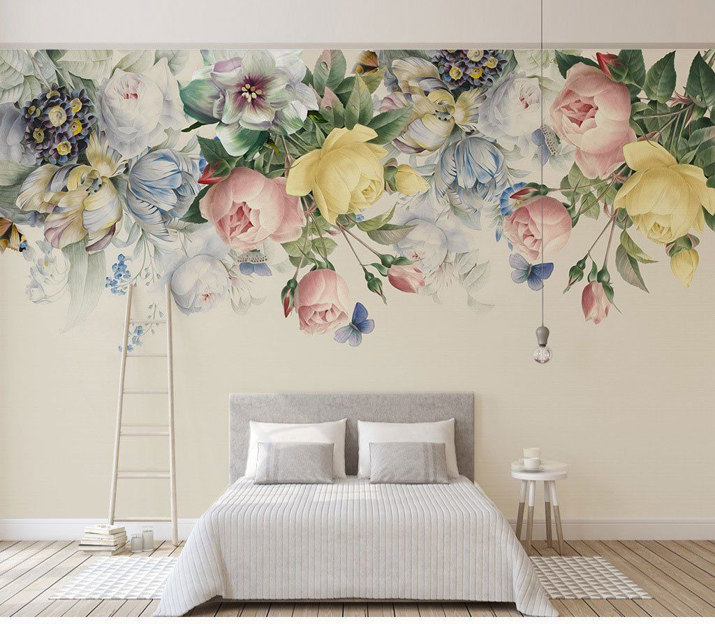 Floral Wallpaper Large Wall Art Printable Nursery Wallpaper Peel