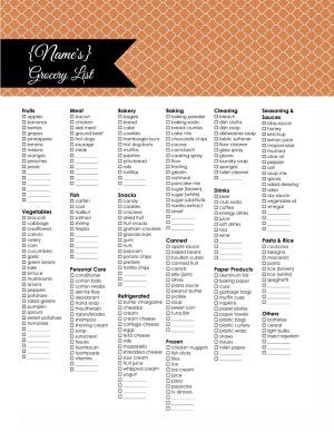 Free Printable Grocery List Instant Download  Grocery List