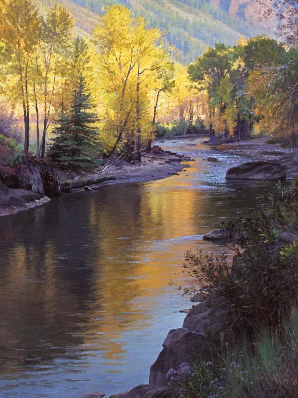 Echoes Of Light Colorado River Landscape Painting Jay Moore Studio Landscape Paintings Landscape Art River Painting