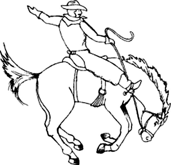 Cowboy Sitting On Crazy Horse Rodeo Coloring Page Coloring Sun Coloring Pages Rodeo Horses