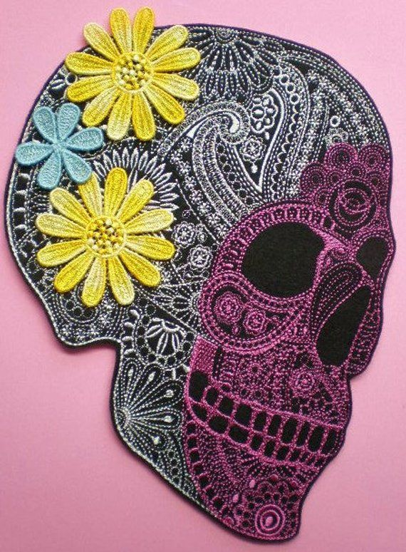 8a0cffe04 Extra Large Embroidered Sugar Skull Applique Patch, Iron On Applique Patch,  Dia De Los Muertos, Day