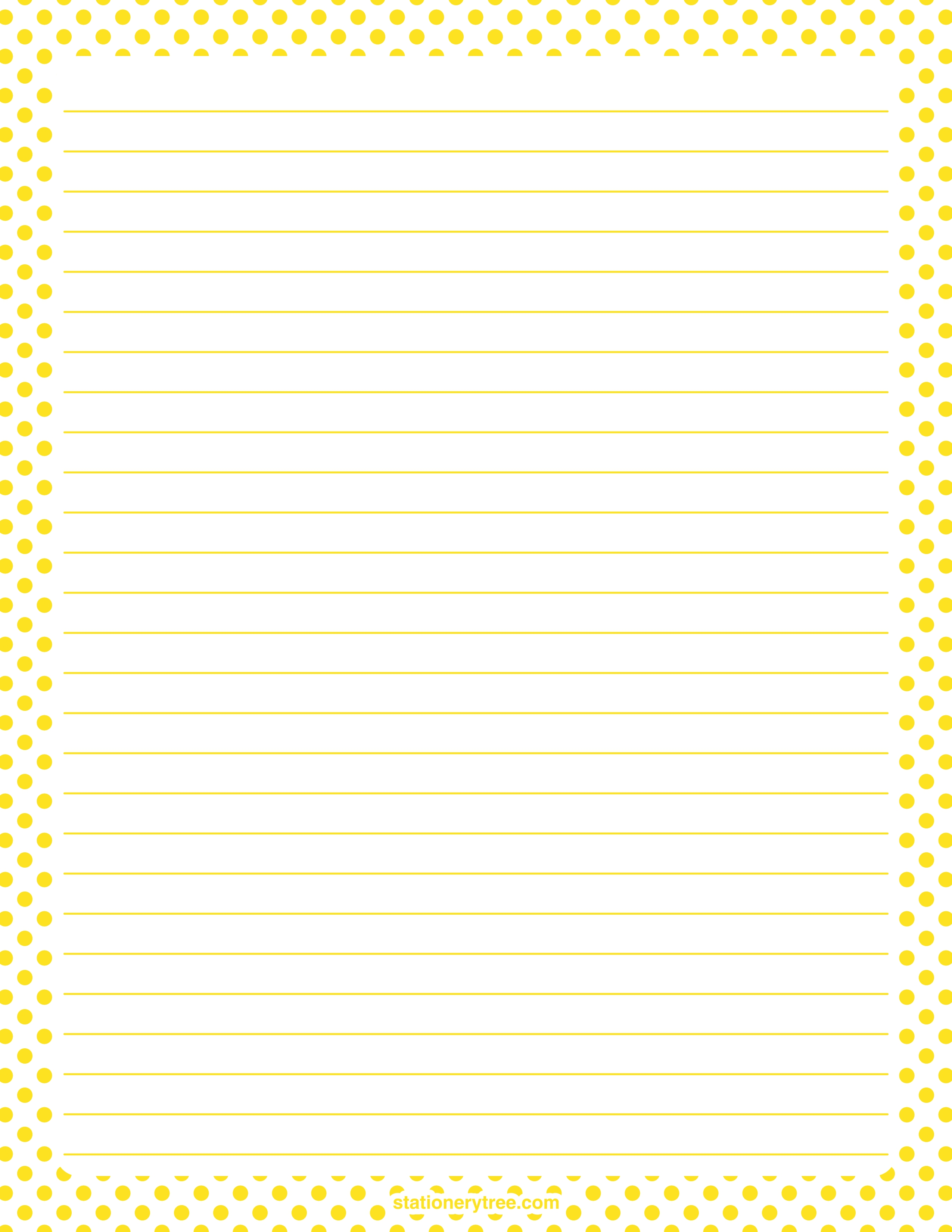 Printable yellow and white polka dot stationery and writing paper ...