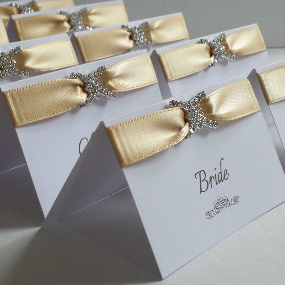Gold White Personalised Diamante Wedding Reception Party Name Place Cards