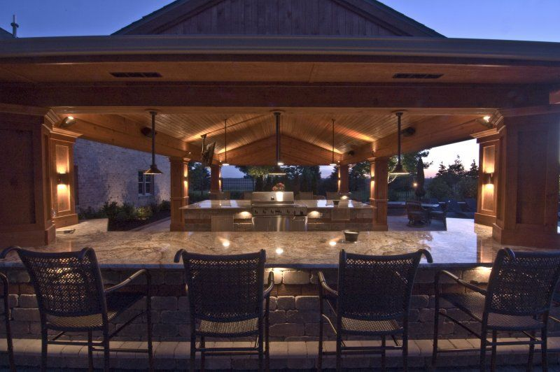 Outdoor Living Spaces Outdoor Kitchen Down Lighting On Outdoor Kitchen Brillantly Lit Outdoor Living Space Outdoor Living Outdoor Lighting