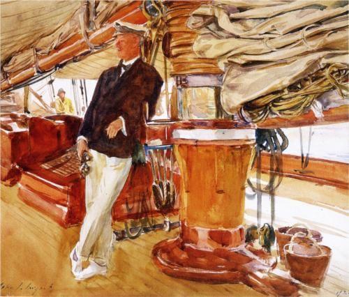 Captain Herbert M. Sears on deck of the Schooner Yacht Constellation - John Singer Sargent