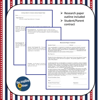 American Literature Research Paper Resource Packet By The Written Muse Outline Topics Topic