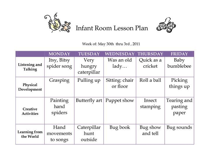 Lesson Plans  Infant Classroom Lesson Plan  Beauty