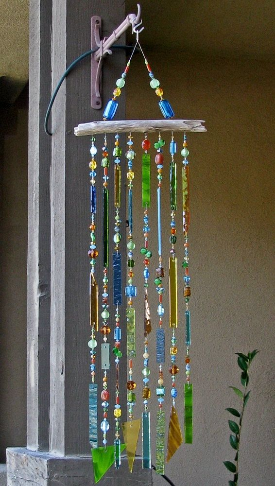 Glass Wind Chimes With Stained Glass And Glass Beads Sparkle And