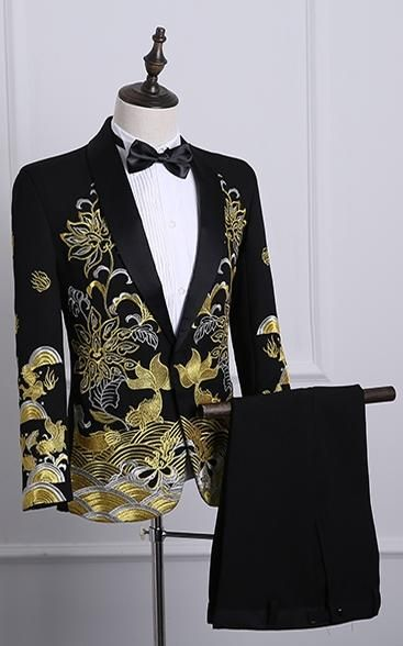 Men's Autumn Shawl Lapel Embroidered Suit With Pants – Mens Swag