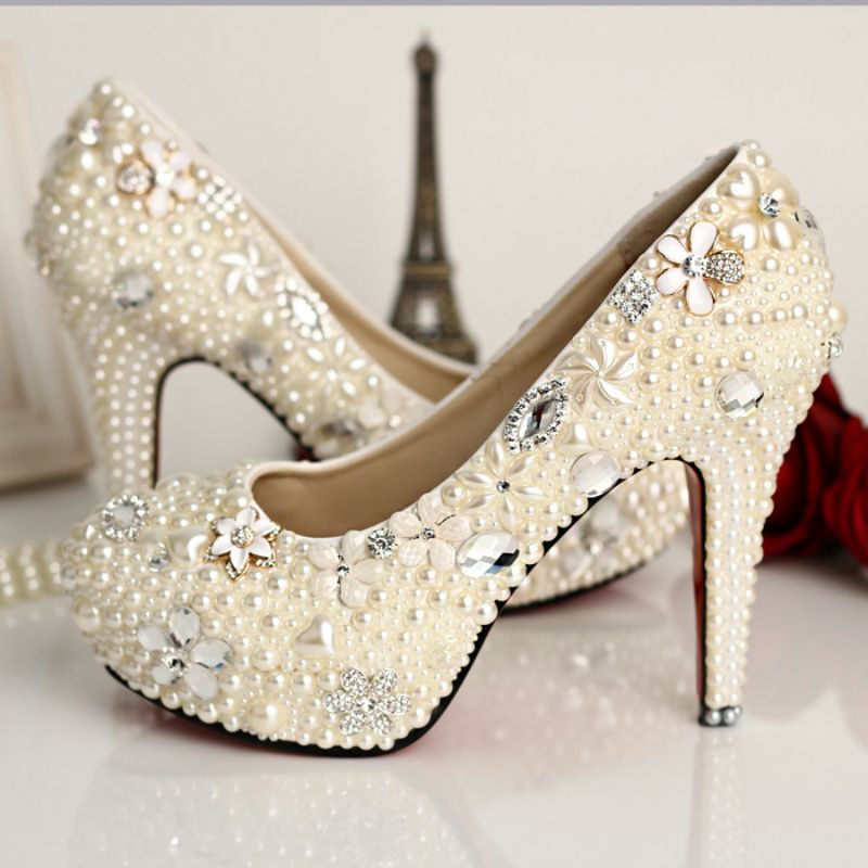 14426 Pearl Rhinestone wedding shoes glass slipper wedding shoes