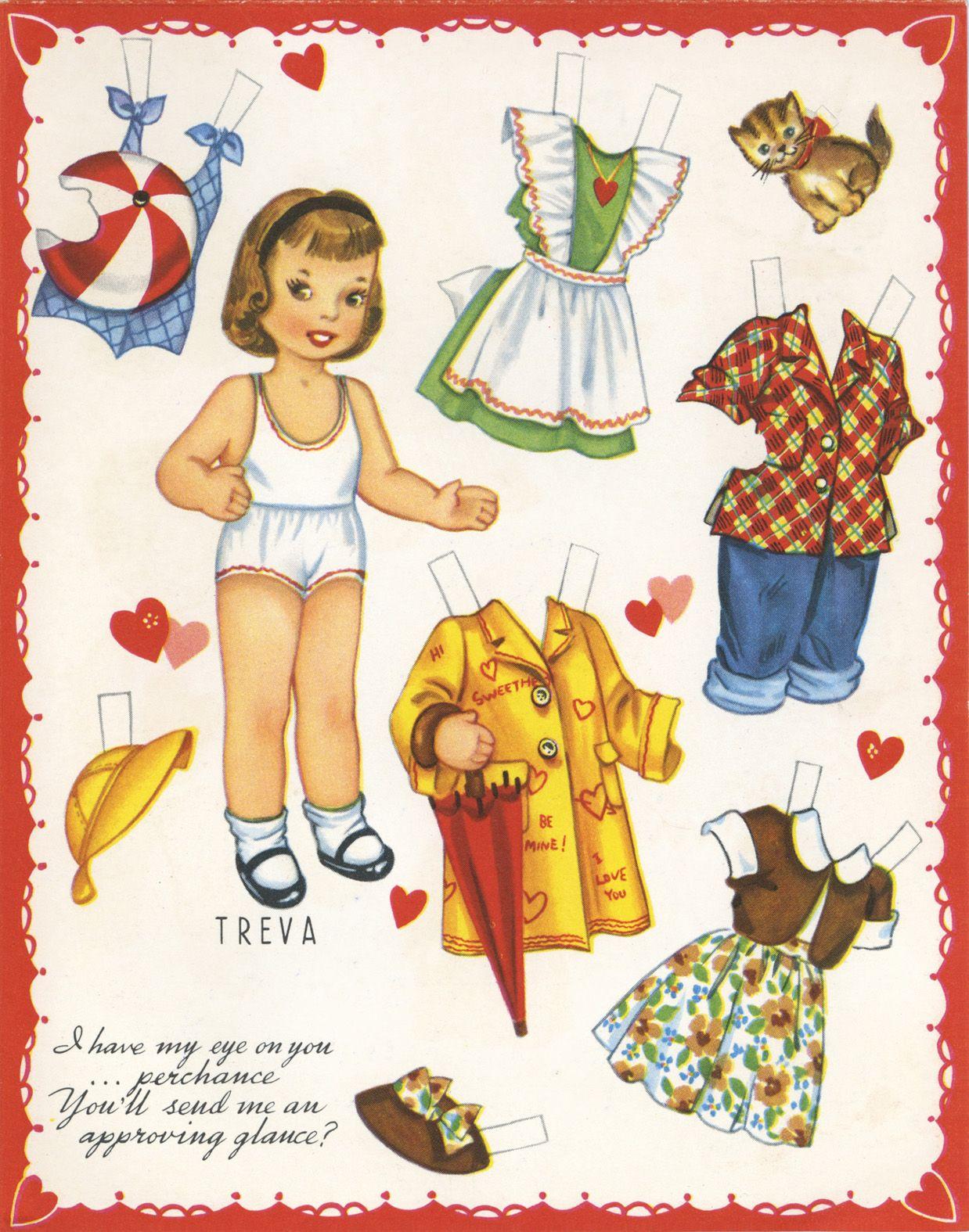 "✄ #Paper dolls.....""Treva""- Valentine ✄-Out Doll Book, A-Meri-Card, 1952"