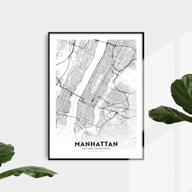 Manhattan New York Manhattan Map Printable Manhattan Decor