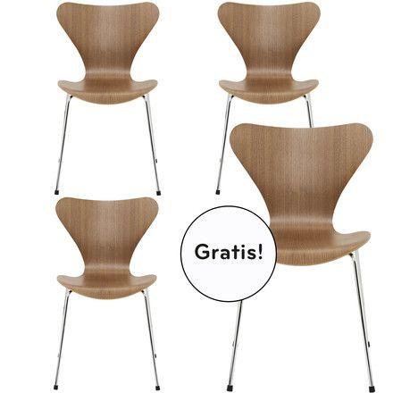 3 + 1 Angebots-Set: Fritz Hansen - Serie 7 Stuhl, Walnuss Natur ...