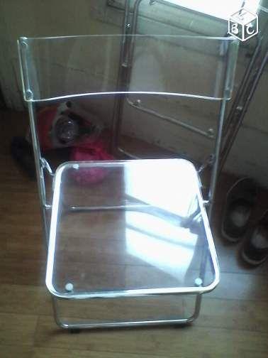 chaise plexi transparente pliante