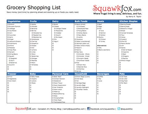 Printable Grocery Shopping List Shopping lists, Printable - free printable grocery shopping list template