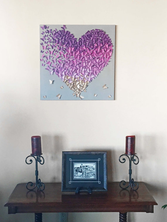 lavender gold butterfly heart ombre gray wall home nursery decor baby girls boys room also rh pinterest