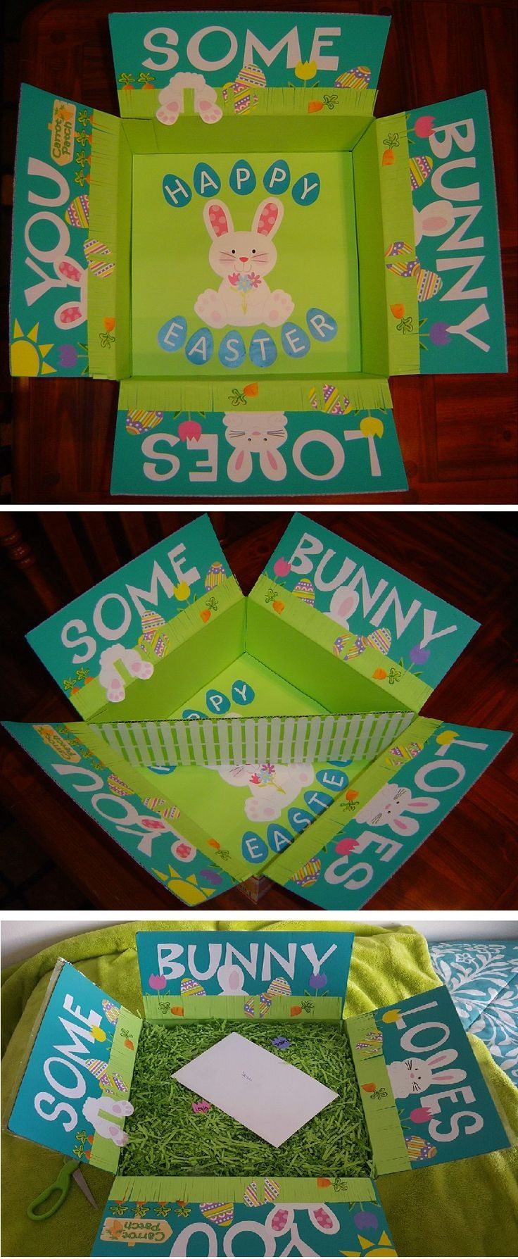 Some bunny loves you easter care package with a white picket some bunny loves you easter care package with a white picket fence divider filled half the box for my daughter and filled the other half for her college negle Image collections