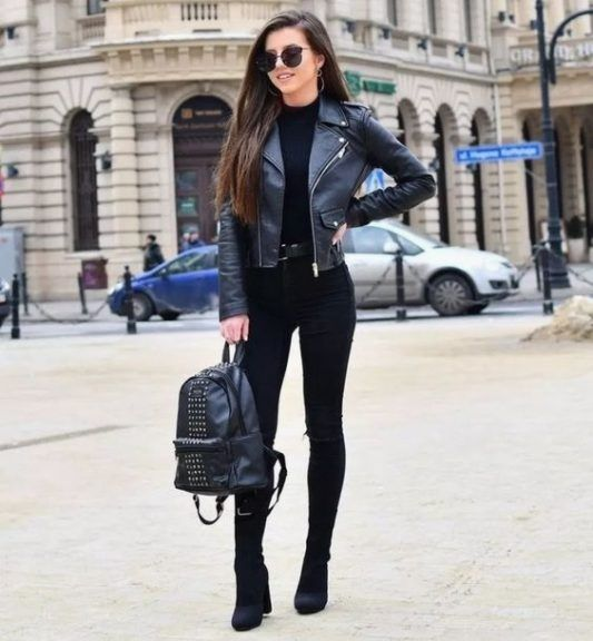 #leatherjacketoutfit