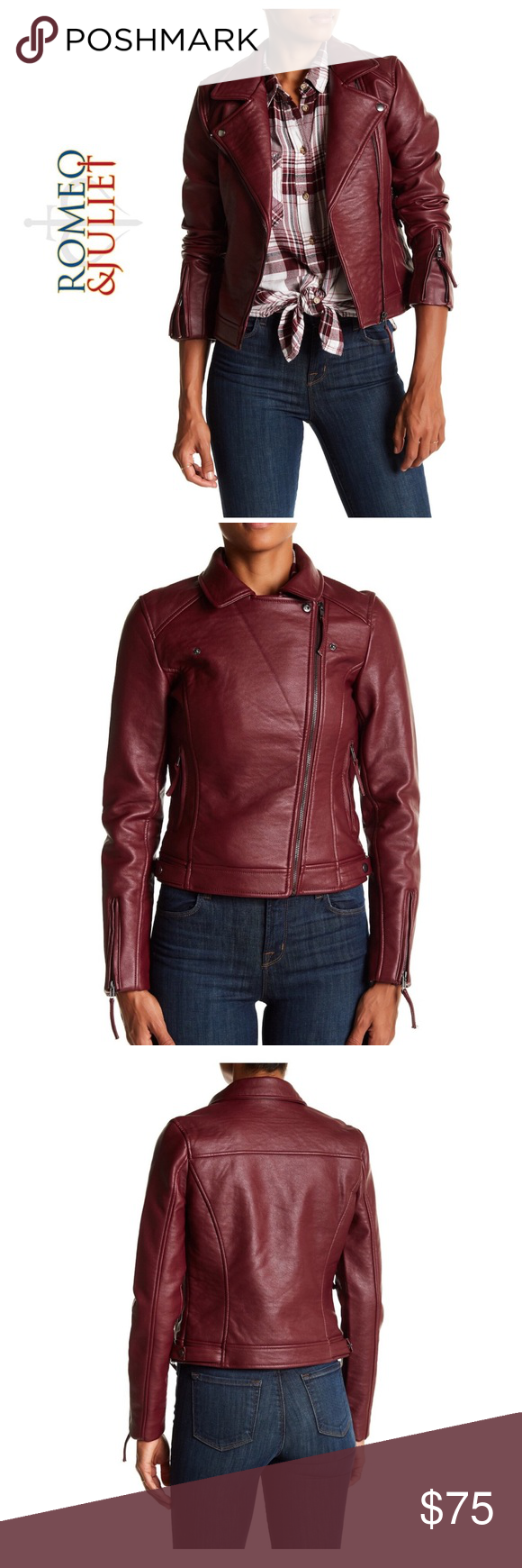 Romeo & Juliet Burgundy Faux Leather Moto Jacket NWT