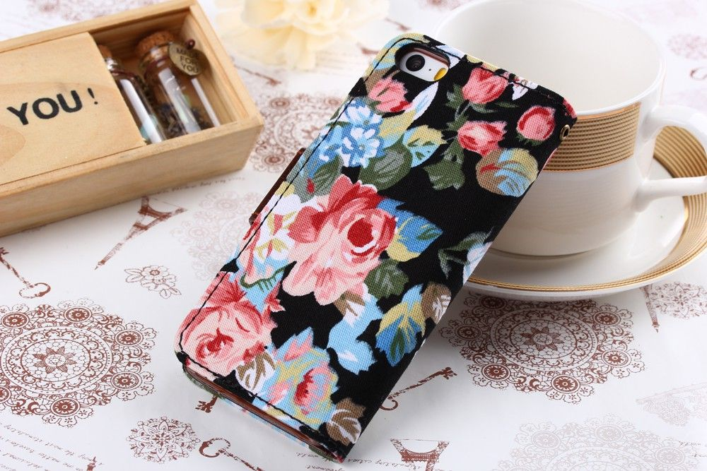 Jeans Cloth Leather Card Holder Case for iPhone 5 5s - Black Flower