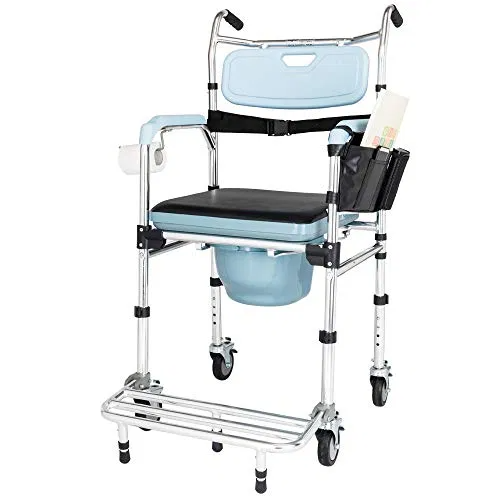 OMECAL Folding Commode Chair for Toilet w/Wheels and Pedal