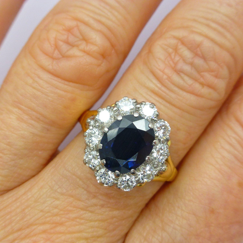 Vintage Diamond Sapphire Cluster Engagement Ring 18ct English Estate Oval  Duchess Of Cambridge~princess Diana