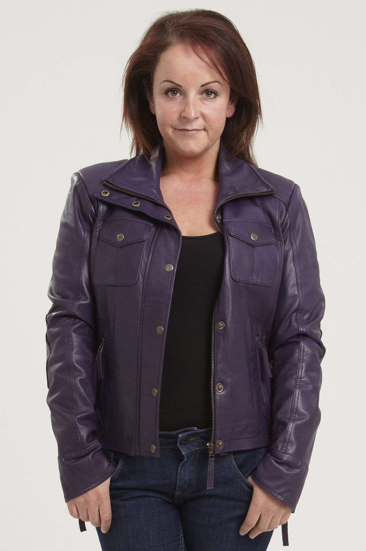 The SENA womens purple leather biker jacket in real leather.