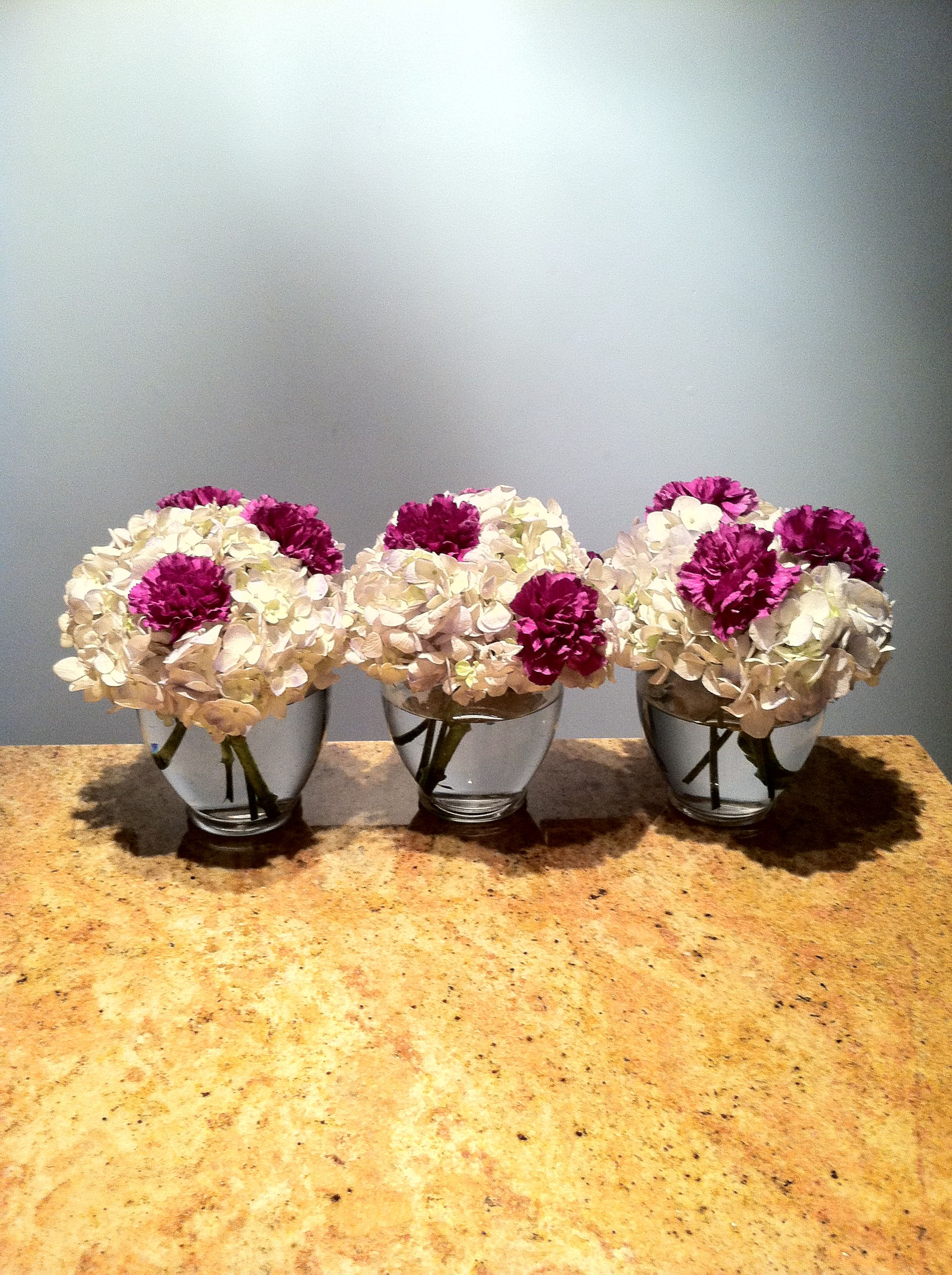 Hydrangea carnation centerpieces flowers pinterest