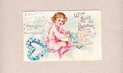 Vintage Valentine Postcard Cupid Angel Riding Key Love & Devotion Forget Me Nots