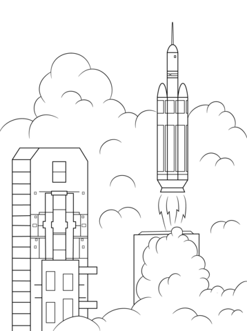 Delta 4 Heavy Rocket Launches Orion Into Space Coloring Page