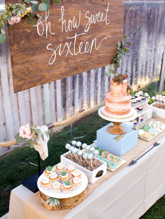 Boho inspired party theme themed parties dessert table for 16th birthday party decoration ideas