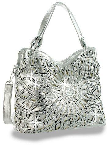 Crystal Rhinestone Metallic Silver Fashion Handbag Purse Sparklebags